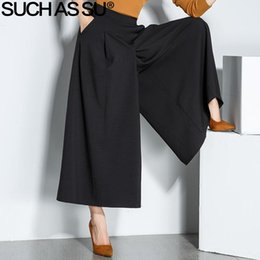 Wholesale Loose Trousers For Women - SUCH AS SU Autumn Winter Ankle-Length Trousers For Women 2017 Black High Waist Wide Leg Pants S-3XL Size Loose Office Lady Pants