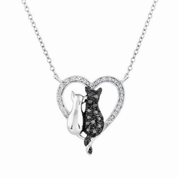 Wholesale Love Couple Accessories - Black And White Cat rhinestone Necklace Valentines Day Gift Love Ornaments Couple Necklace for Children girls boys Jewelry Accessories