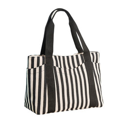 canvas tote bag large stripe Promo Codes - Fashion Lady Female Canvas Stripe Portable Shoulder Crossbody Bags for Women Clutch Large Capacity Tote Bags