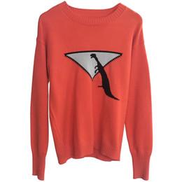Tops de mujer suéter de punto mujeres 2018 geometría de otoño pequeño dinosaurio jacquard tejido de lana de color golpe manga larga cuello redondo tejido desde fabricantes