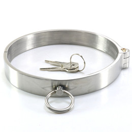 Wholesale Bondage Ankle Wrist Cuffs Steel - Lockable Stainless Steel Metal Collar Restraints Bondage Slave In Adult Games For Couples Fetish Sex Toys For Women And Men Gay