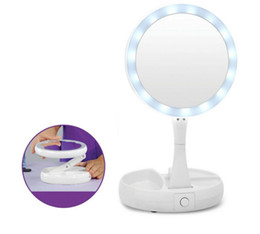 Wholesale Portable Pocket Pc - My Fold Away Make Up LED Mirror 360 Degree Rotation Touch Screen Make Up Cosmetic Folding Portable Compact Pocket Mirrors 50 pcs