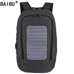Wholesale Easter Solar - BAIBU External USB Solar Charge Anti-theft Backpack For Men Women Laptop Backpack Waterproof Business Fashion Travel Backpack