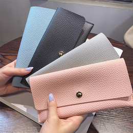 Wholesale korean dress fashion black color - Candy color women envelope wallet girls ladies long design hasp purse wallet women leather wallet coin purse simple PU clutch