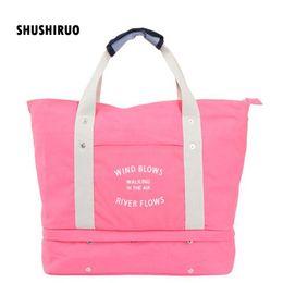 3c56f2a6e91d large organizer bag Canada - SHUSHIRUO Large Capacity Women Luggage Travel  Bags Clothes Storage Canvas Folding