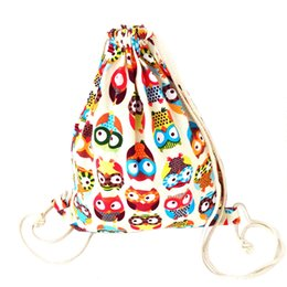 4c8157d9b222 ISHOWTIENDA Drawstring Bag For Men Womens Owl Canvas Summer Backpack  Fashion Package small printed Duable Bags sac a dos ficelle