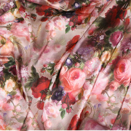 Wholesale Dress Fabric Textile - 145*100cm High-grade satin big flower style fabrics For women's dress,dolls shabby chic Bedding Textile Quilting