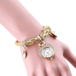 Wholesale Texture Dress - Woman fashion dress watches Hollow Stainless steel snake skin texture band Bracelet Rhinestone Quartz watch gift gold Heart shaped dial