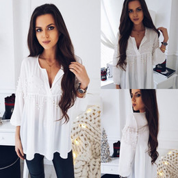Wholesale Sexy Pearl Blouse - 2018 New Fashion Hot Sexy Womens Chiffon Long Sleeve Pearl Shirt Ladies Casual Party Tops Blouse