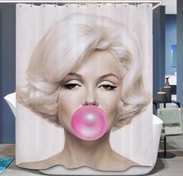 eco amigável espessamento chuveiro cortina Desconto Marilyn Monroe Cortina de Chuveiro À Prova D 'Água Âncora Do Banheiro Cortina Cortina de Poliéster 3d Ducha com Ganchos Cortinas para o Quarto de Banho