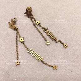 Wholesale wedding flower earrings - Popular fashion brand High version Jadior Star Tassel Earrings for lady Design Women Party Wedding Luxury Jewelry With for Bride with BOX.