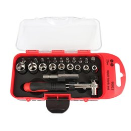 Wholesale Car Socket Sets - 23pcs Multi-functional Emergency Repair Tool Sets Socket Wrench Ratchet Hand Tools for Bicycle Motorcycle Car Repairing Tool Kit