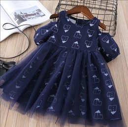 Wholesale House Western - Everweekend Girls House Print Tulle Ruffles Dress Princess Off Shoulder White and Blue Color Western Fashion Party Clothes