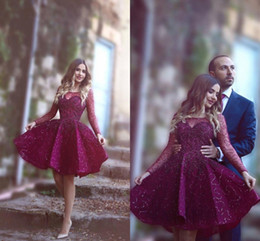 Wholesale tulle sparkle homecoming dress - 2018 Burgundy Sheer Scoop A-Line Cocktail Dresses Illusion Long Sleeves Knee Length Sparkling Sequins Plus Size Homecoming Dresses BA1772