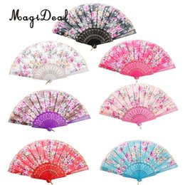 Wholesale Purses Party Favors - MagiDeal Chinese Japanese Fans Classical Fower Polyester Fabric Hand Fan Plastic Folding Purse Wedding Party Favors Gifts