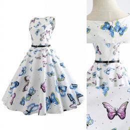89ef96b9fd53 abiti farfalla bianca Sconti 2018 Estate Donna Elegante Vintage Dolce  Farfalla floreale Stampa Abiti casual Moda