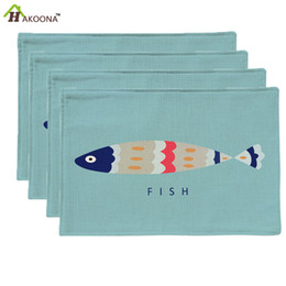 Wholesale Linen Placemats Wholesale - Wholesale- HAKOONA 4 Placemats Blue Background Cartoon Fish Printed Table Pads Cotton Linen Fabric Table Mats Decoration 44x28cm