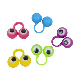 Wholesale Color Plastic Skateboards - Eye Finger Puppets Plastic Rings With Wiggle Eyes Kids Gift Toys Multi Color 0 3bw C R