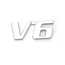 Wholesale Chrome Decals Stickers - Metal Chrome 3D V6 Displacement Emblem Badge truck auto motor sticker decal