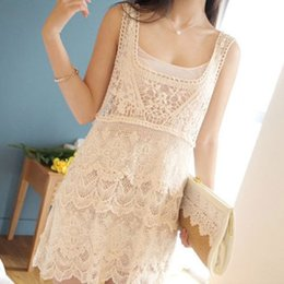 Wholesale womens tank dresses - Free shipping Womens Floral Lace Crochet Tee Tank Top Blouse Dress Vintage Beach