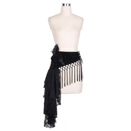 Wholesale Gothic Belts - Devil Fashion Gothic Pattern Women's Belts New Brand Ladies Solid Black Decorative Tassels Waist Belt With Feather 2016
