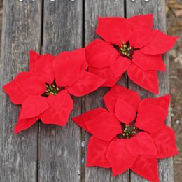 2019 tecido bouquet de flores artificiais 1 pcs Flanela Poinsétia Flor Cabeça Simulação Planta Atacado Natal Decoração Set