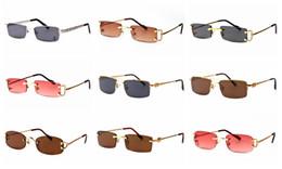 Lente vermelha de vinho on-line-Polarized óculos de sol dos homens sem aro óculos unisex estilo de metal moldura de ouro pernas vinho vermelho lente de qualidade superior de óculos sol masculino
