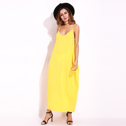 d9c468e4ce Yellow Sundress Beach Vestidos 2018 Summer Women Dress Boho Strapless  V-neck Sleeveless Baggy Long Maxi Dresses Plus Size 5XL