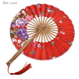 Amore bambù online-Favori di partito di evento She Love Classic Flower giapponese Blossom Hand Fan superficie pieghevole Bamboo Windmill Fan Bomboniere regalo di nozze