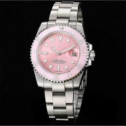 Wholesale mirror bezel - 2018 Top Luxury AAA Brand Pink Dial Ceramic Bezel Stainless Steel Sapphire Glass Mirror Automatic Mechanical Wonen Wonens Watch Watches