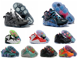 Wholesale Basketball Player Shoes - New Men's LeBro XII Basketball Shoes Basketball Player Star Player Fashion Wolf Grey Reflect Silver Indoor and Outdoor Sneakers