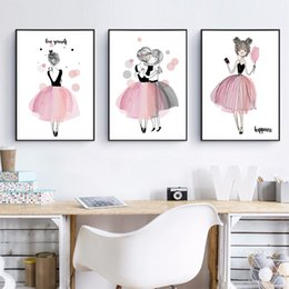 Wholesale Posters For Girls - Cute Cartoon Girl Canvas Art Print Poster Kids Room Wall Decor , Watercolor Pink Canvas Painting For Girl Room Decoration
