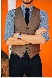 Smoking marrone formale online-Gilet in tweed di lana marrone vintage in stile britannico Gilet da cerimonia formale Abito da uomo Gilet da smoking da uomo Gilet Plus Size