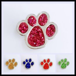 Wholesale Bead Bear - Wholesales 2.1*2.2cm Bear Paw Button 18mm Ginger Chunks Noosa Buttons DIY Jewelry Rhinestone Alloy Beads for Necklace Bracelets