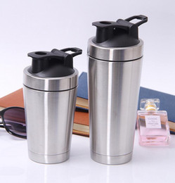 Wholesale Stainless Steel Protein Shakers - 500ml 720ML Shake Sports Stainless Steel Water Bottle Protein Powder Shaker Waterbottle Cups Dinkware Thermos Mug