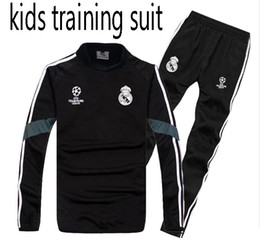 Wholesale high quality suits - kids TOP QUALITY new 17-18 Real Madrid kids soccer chandal BLACK football tracksuit 2017-2018 training suit pants High collar Sportswear