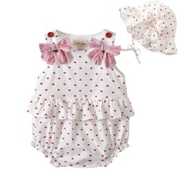 Wholesale love baby clothes - High quality baby clothing Cute style baby romper summer sleeveless love heart print Design romper + headband 100% cotton girl summer romper