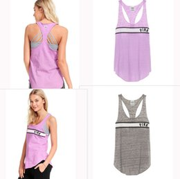 Wholesale gray tank tops - Love Pink Letter Gym Sports Sleeveless pink T shirts Tank Tops Fitness Running T-shirt Yoga Vest for Gilrs m-2xl Size vs summer Top&Tee sale