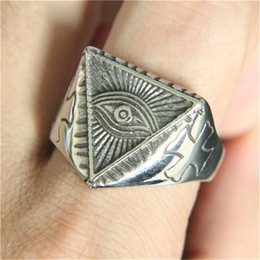 Wholesale party gods - 1pc Support Dropship Golden Silver Eye of God Ring 316L Stainless Steel Jewelry Band Party Cool New Eye Ring