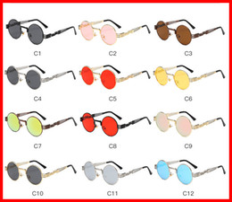 2019 occhiali da sole rotondi steampunk Vidano Optical Round Metal Sunglasses Steampunk Uomo Donna Fashion Occhiali Brand Designer Retro Vintage Occhiali da sole UV400 occhiali da sole rotondi steampunk economici