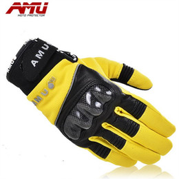 Wholesale Full Electric Cars - Authentic AMU carbon fiber gloves motorcycle electric car male ladies riding outdoor sports special gloves G76