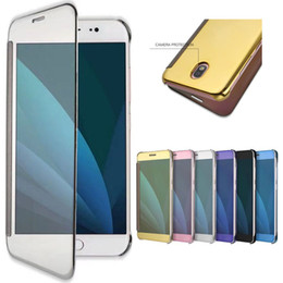 Wholesale Apple G5 Case - For Samsung Galaxy S8 Mirror Case Dormant Cover Phone Case Luxury Clear View Mirror Flip Electroplating Cases For LG G5 phone Case