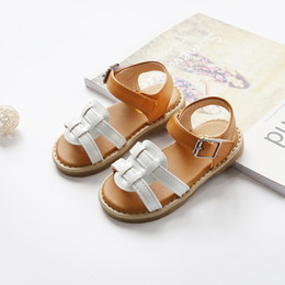 Wholesale White Wedges Bow - New Girls sandal shoes 2018 summer shoes Fashion weaving sandals braid wedges shoe girl platform sandalsNew sandal girl's shoes A8710