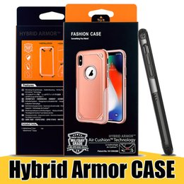Wholesale Slim Armor Cases - Hybrid TPU PC Plastic Shell Case for iPhone X 8Plus Samsung Note8 S9 Slim Armor Rugged Heavy Duty Cellphone Cases with Retail Packaging