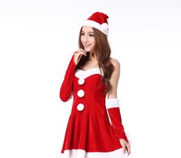Wholesale Safe Suits - costume Women's Sexy Santa Suit Off Shoulder Barrel Skirt Perform Costume high quality and safe fashion