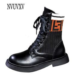 2019 botas estilo europeo mujeres 2019 Nueva moda estilo europeo botas cortas punta redonda mujer bota ocio PU cuero mujer zapatos con cordones caliente bota plana sh334 rebajas botas estilo europeo mujeres