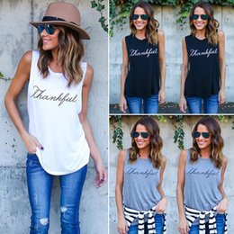 Wholesale relaxed t shirt - European and American best selling printed t - shirt vest with round neck and relaxed temperament is a fashion casual printed vest