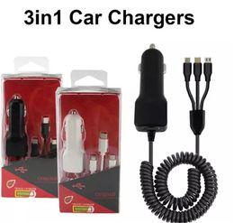Carregadores carro oem on-line-3 em 1 OEM 10 x Car carregador Multi Porto de Carregamento de Alto Desempenho Para Android iPhone Tipo C USB Rápido Carregadores de Carro Rápido