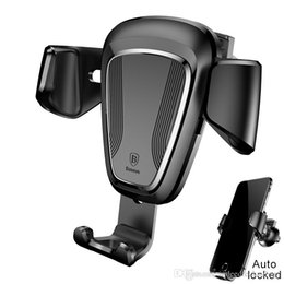 Wholesale Iphone Auto Mount - Free Shipping Baseus Car Phone Holder Stand For iPhone X 8 7 6 5s Samsung S8 Auto-lock Air Vent Phone Mount Holder