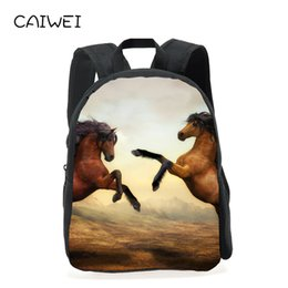 6c7e7eb398 Hot 12 Inches Oxford Printing Animal horse Kindergarten Small Backpack Kids  Baby School Bags Children Mini Schoolbag for Boys